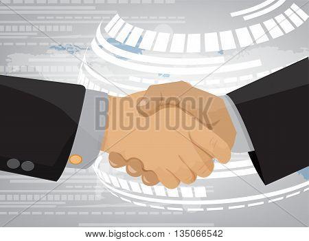 businessman shaking hands. Handshake icon in flat design.