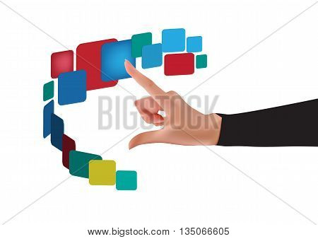 Vector - vector button design background with touch screen hand