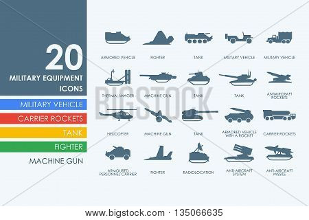 military equipment vector set of modern simple icons
