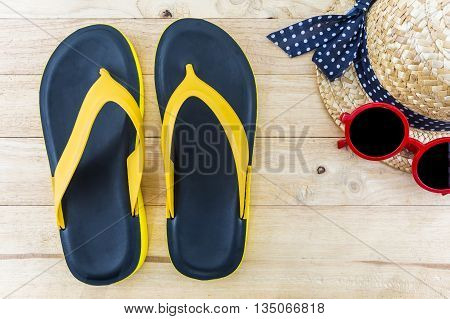 Colorful of Sandals shoes / Orange and black colors flip flops on white background.