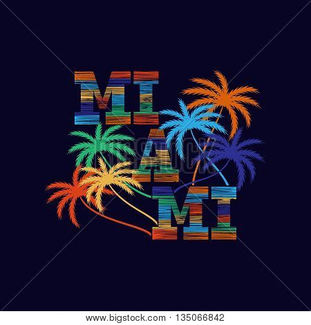Miami typography poster. Concept in vintage style for print production. T-shirt fashion Design. Template for poster print banner flyer.