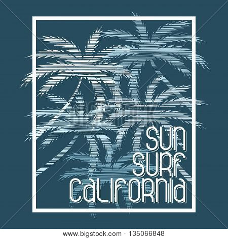 California surfing. Concept in vintage style for print production. T-shirt fashion Design. Template for poster print banner flyer.