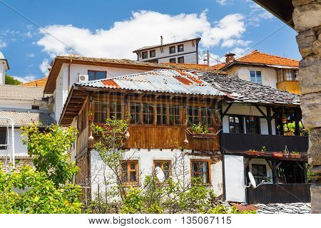 Panorama of houses in bulgarian high mountain village or selo Delchevo, Bulgaria, Balkans