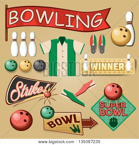 Bowling Equipment Set. Bowling Icons Collection. Vector Illustration. Vintage Style.