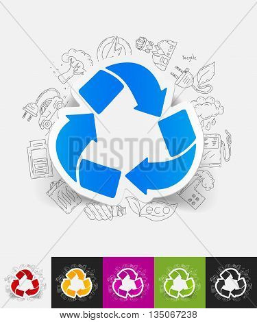hand drawn simple elements with recycle sign paper sticker shadow
