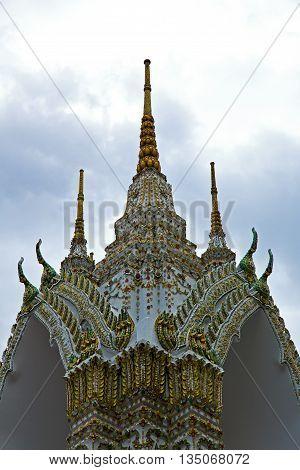 Thailand    Bangkok    Colors Roof Wat  Palaces   Asia  Mosaic