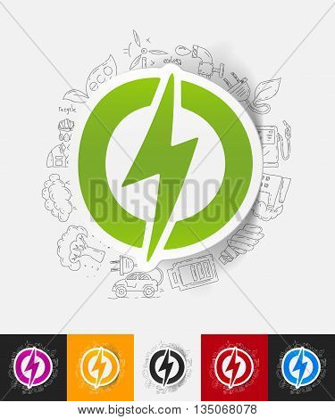 hand drawn simple elements with lightning bolt paper sticker shadow