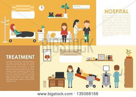 Hospital Medical Treatment flat medical hospital interior concept web vector illustration. Doctor, Patients, Queue, Medicine service presentation