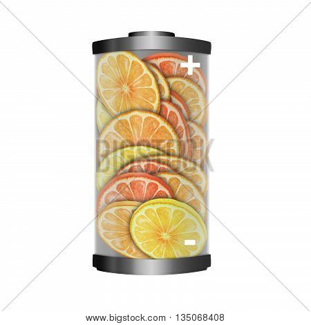 Conceptual image of the energy value of citrus fruits