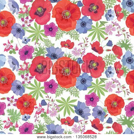Seamless Vector Floral Pattern with Poppies and Anemones on the white Background. Summer Fashion Ornament for Fabric and Wrapping Paper.