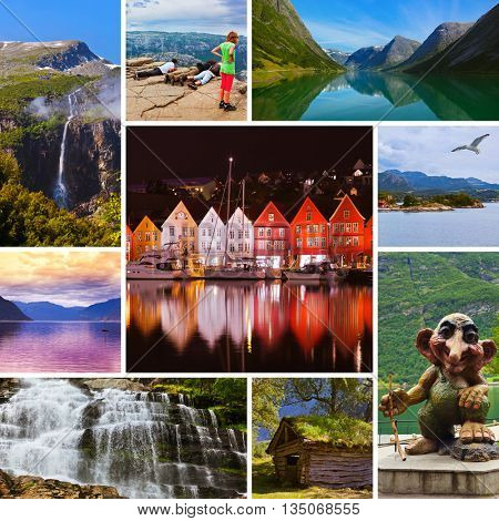 Collage of Norway travel images - nature and architecture background (my photos)