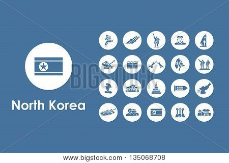 It is a set of North Korea simple web icons