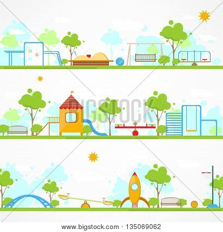 Children's Playground. Children park. Vector Illustration. Flat Style. Children's Playground. Isolated on White.