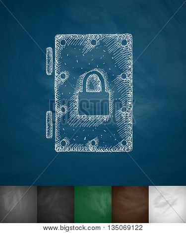 steel door icon. Hand drawn vector illustration. Chalkboard Design