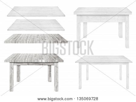 White and different style wooden tables are isolated on white background.