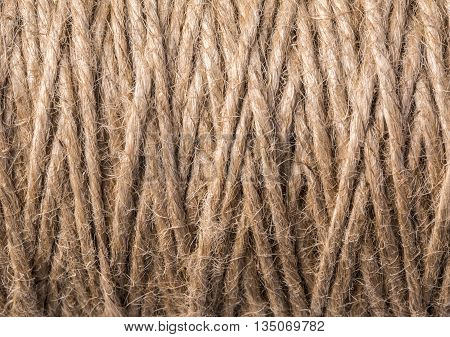 the Skein of jute twine closeup background