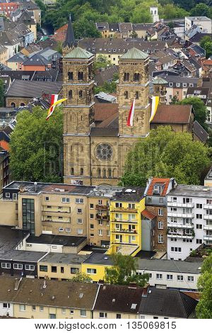 COLOGNE, GERMANY - MAY 17, 2013: This is aerial view of the basilica of St. Herbert on the right bank of the Rhine.