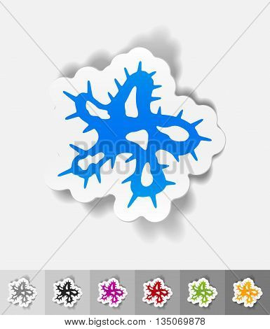 microbe paper sticker with shadow. Vector illustration