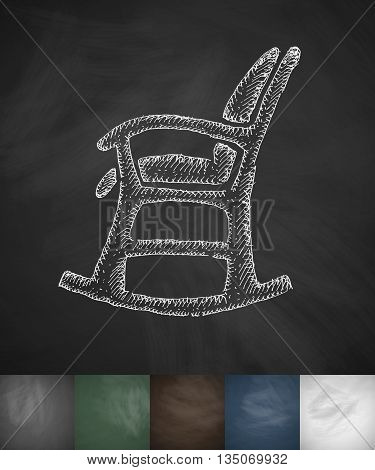 rocking chair icon. Hand drawn vector illustration. Chalkboard Design