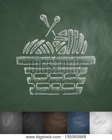 basket with yarn icon. Hand drawn vector illustration. Chalkboard Design