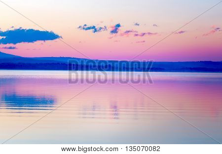 Beautiful Landscape With Mountains And Lake At Dawn In Golden, B