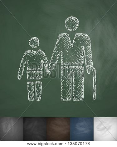 old man and boy icon. Hand drawn vector illustration. Chalkboard Design