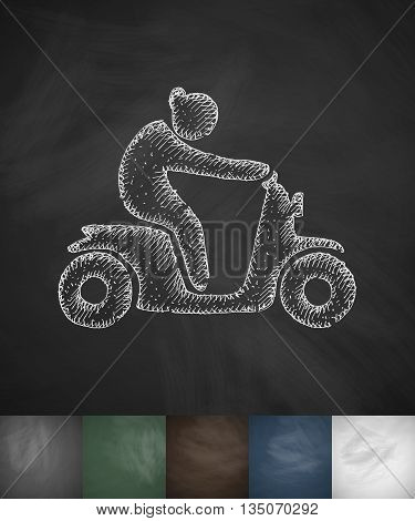 woman on moped icon. Hand drawn vector illustration. Chalkboard Design