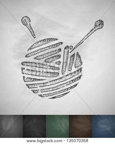 ball of yarn icon. Hand drawn vector illustration. Chalkboard Design