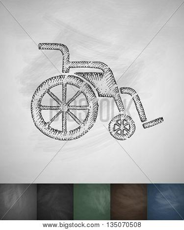 wheelchair icon. Hand drawn vector illustration. Chalkboard Design