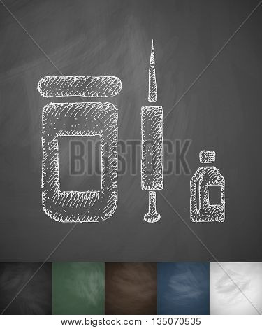medicaments icon. Hand drawn vector illustration. Chalkboard Design