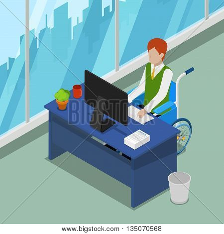 Disable Person in Wheelchair Working at Office. Disability Isometric People. Vector illustration