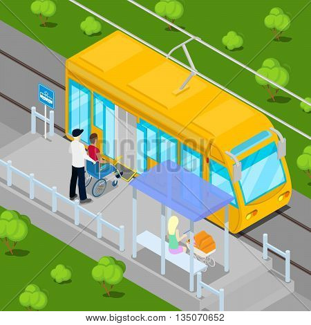 Tram Driver Helping Disable Man on Wheelchair to Enter into the Wagon. Disability Isometric People. Vector illustration