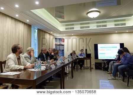 ST. PETERSBURG, RUSSIA - MAY 24, 2016: Panel discussion dedicated to Composite Cluster of St. Petersburg at Sredne-Nevsky shipyard. The shipyard use composite materials since 1963