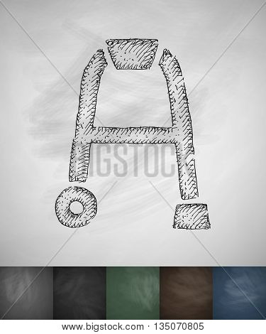 walker icon. Hand drawn vector illustration. Chalkboard Design