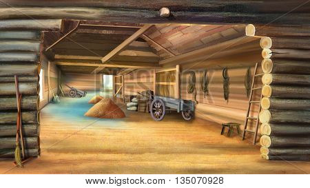 Barn with Grain in a village. Wooden cart. Digital painting illustration in Realistic Cartoon Style
