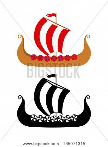 Drakkar - Viking's Ship in Nordic Sea. Wooden Warships of Scandinavian Ancient Warriors. Vector Illustration of boat and silhouetter image isolated on white background.