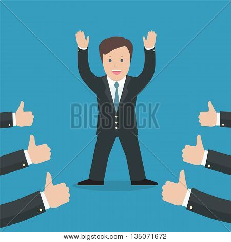 Successful businessman acknowledging many thumbs up around him. Conceptual design for success and achievement. Vector