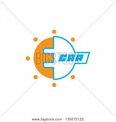 E-car logo eco car color, concept,  isolated