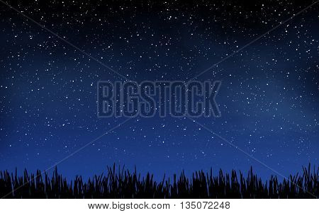 Deep night sky with many stars and grass background