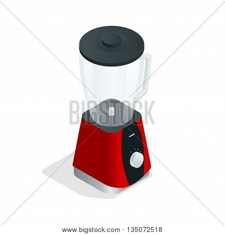 Electric blender. Kitchen appliance, equipment isolated on white. Flat 3d vector isometric illustration