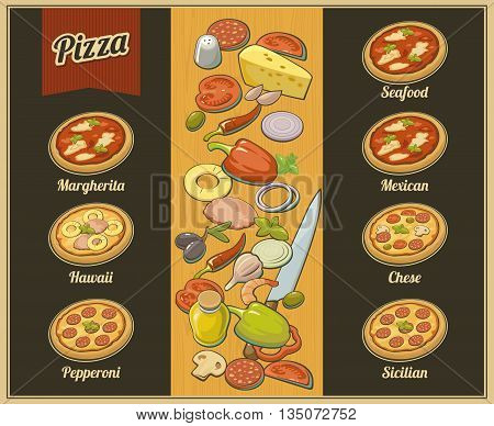 Set whole pizza. Vector isolated flat illustration for poster, menus, brochure, web and icon.