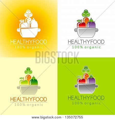 Healthy organic food logo icon set with fresh fruits, vegetables and pan for cooking. Apple fruit icon, carrot vegetable, eggplant. Sign for restaurant, supermarket, farmers market. Color background