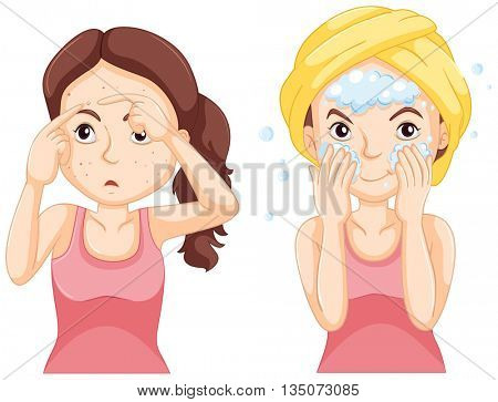 Woman washing face and woman with pimples illustration