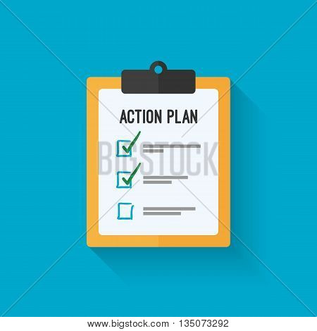 Action plan clipboard icon design over a blue background. Board goal check list icon. Vector flat style design with long shadow. Vector