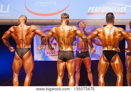 MAASTRICHT THE NETHERLANDS - OCTOBER 25 2015: Male bodybuilders flex their muscles and show their best back pose at the World Grandprix Bodybuilding and Fitness of the WBBF-WFF
