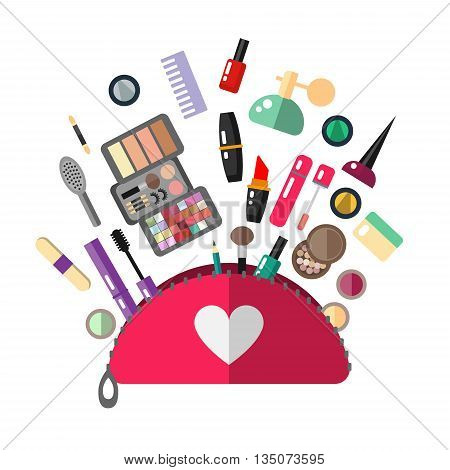 Cosmetic bag in flat style. Make up objects for cosmetic store - vector illustration. Flat cosmetics make up. Isolated cosmetic.