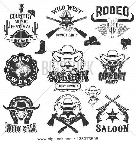 Cowboy rodeo wild west labels. Country music party. Design elements for logo label emblem sign badge.