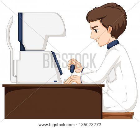 Man working at eyes checking machine illustration