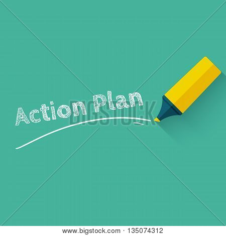 Action plan concept design with yellow pencil or marker. Vector illustration in flat style with long shadow.