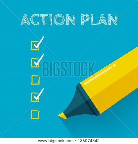 Action plan concept design with yellow pencil or marker. Flat style with long shadow. Goal check list icon. Vector